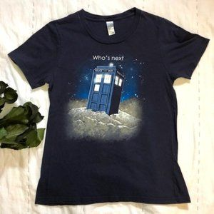 Doctor Who TARDIS Fitted Navy Cotton T-Shirt (S)